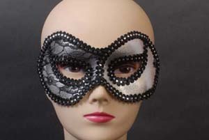 MASK - SILVER & BLACK 1/2 LACE