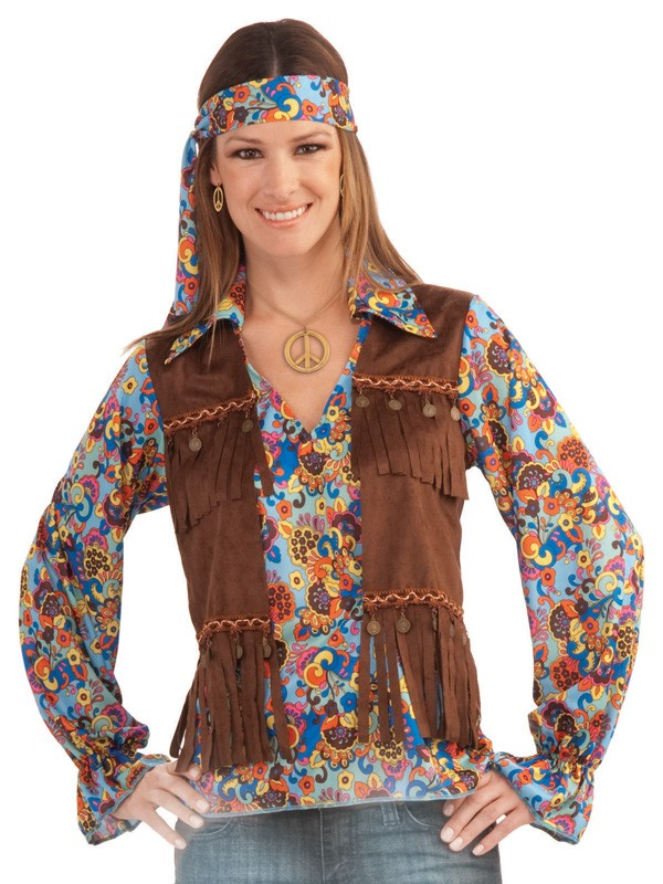 1960'S HIPPIE SHIRT, VEST & HEADBAND