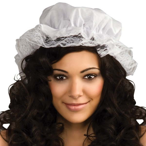 MOB HAT - WHITE WITH LACE EDGING