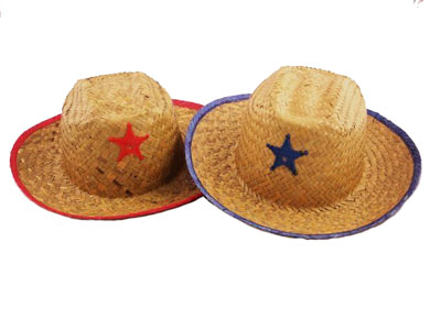 CHILD\'S STRAW SHERIFF HAT WITH BADGE