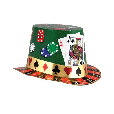 CASINO CARDBOARD HAT WITH CARDS & ROULETTE WHEEL