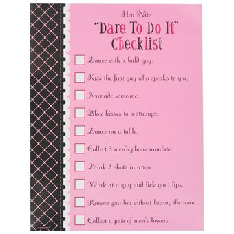 HEN'S NIGHT DARE TO DO CHECKLIST