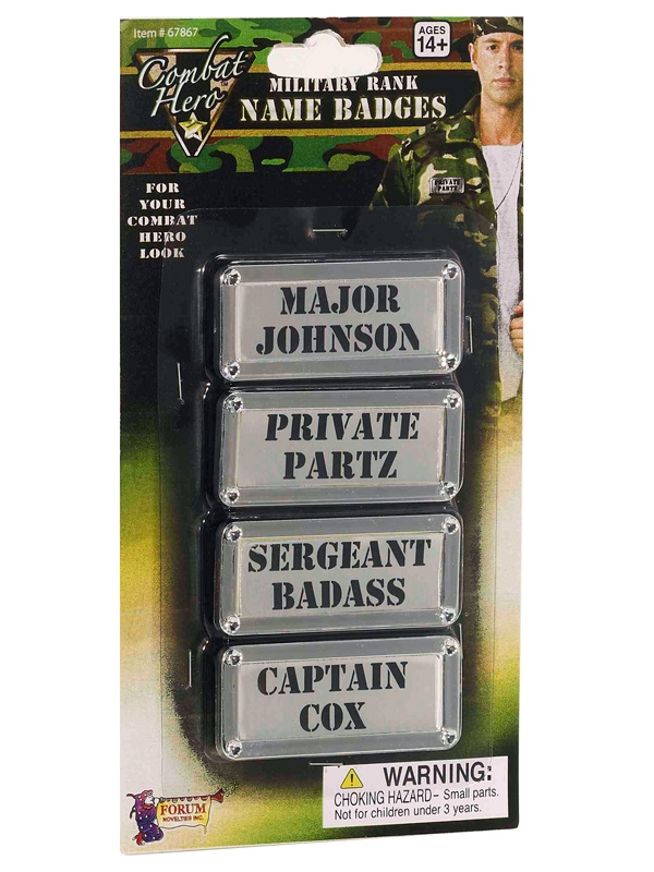 MILITARY RANK NAME BADGES SET OF 4