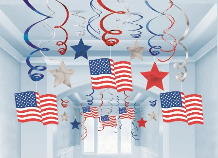 AMERICAN PATRIOTIC SWIRL JUMBO DECORATION KIT