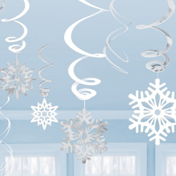 SNOWFLAKE HANGING SWIRLS WHITE & SILVER - VALUE PACK OF 12