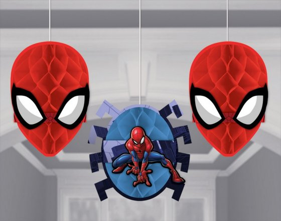 SPIDERMAN HANGING HONEYCOMB DECORATIONS - PACK 3