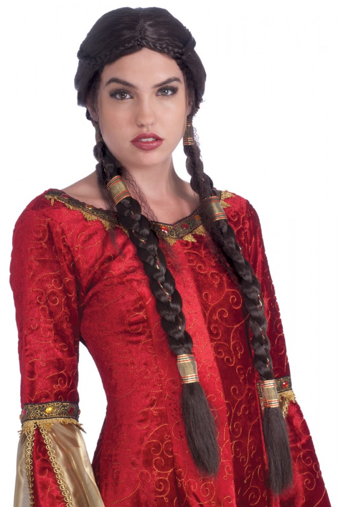 MEDIEVAL MAIDEN LONG BROWN BRAIDED PLAIT WIG