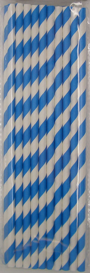STRAWS - PAPER ROYAL BLUE & WHITE STRIPE PACK OF 20