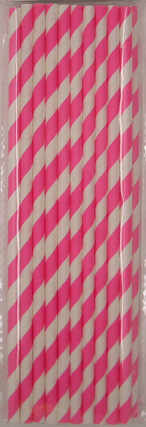 STRAWS - PAPER HOT PINK STRIPE PACK OF 20