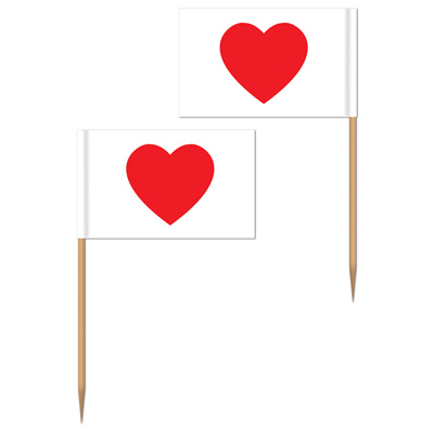 VALENTINES DAY HEART TOOTH PICKS PACK OF 50