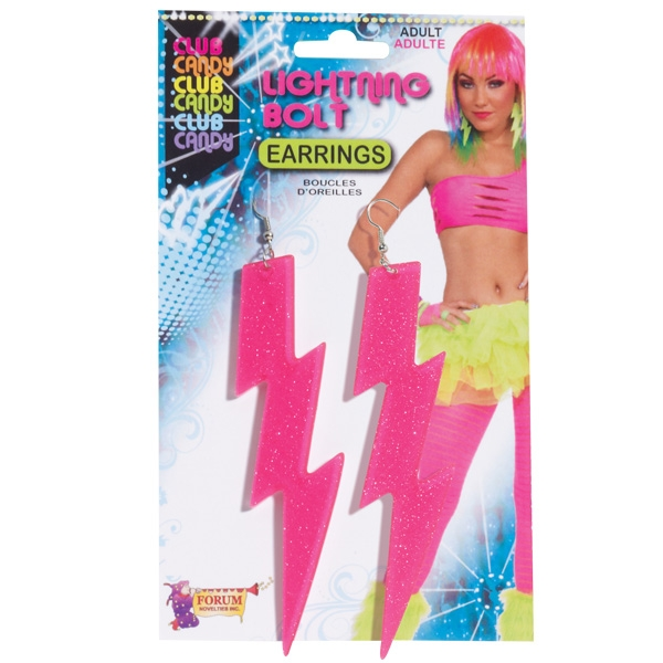 1980'S PINK LIGHTNING BOLT EARRINGS