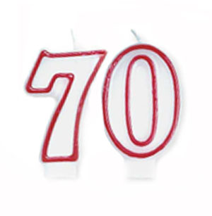 70TH BIRTHDAY CANDLE - RED & WHITE