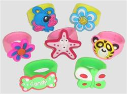 PARTY FAVOURS - RUBBER RINGS IN ASSORTED DESIGNS - PACK 10
