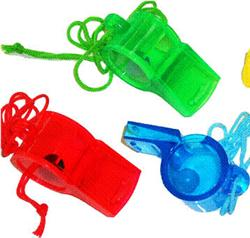 PARTY FAVOURS - SPORTS WHISTLES WITH CORD
