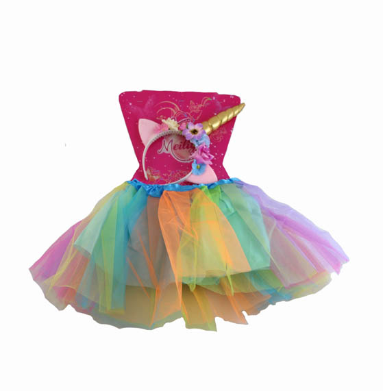 RAINBOW UNICORN TUTU & HEADBAND SET FOR GIRLS 3-5 YEARS
