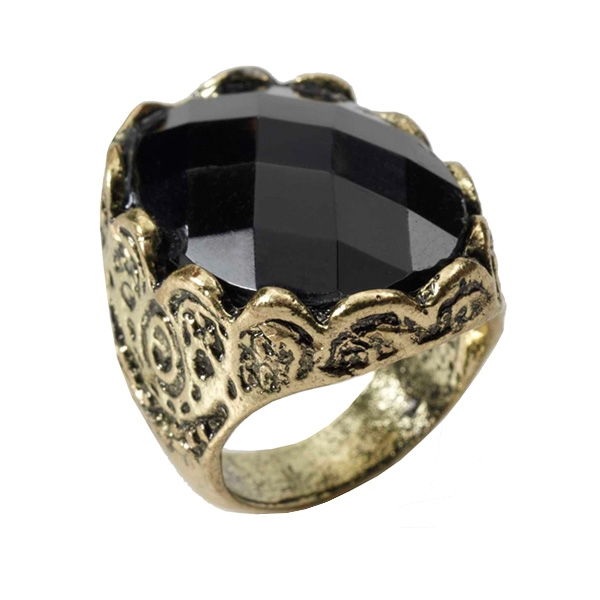 MEDIEVAL FANTASY BLACK STONE BRONZE RING