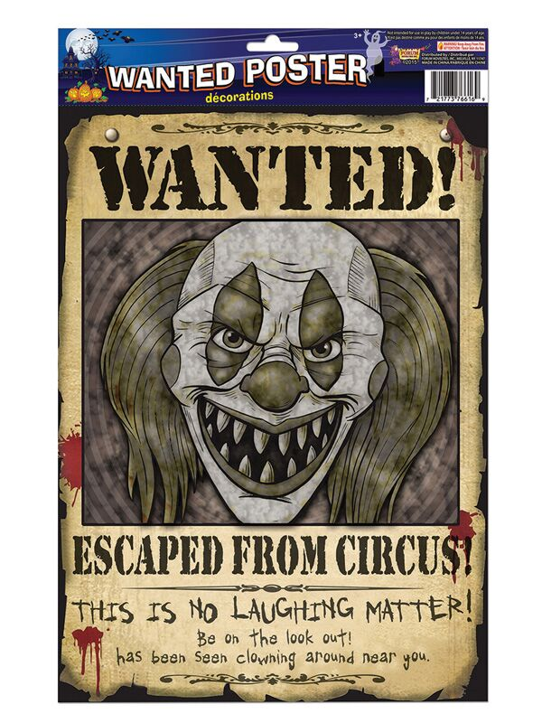 CREEPY CLOWN WANTED POSTER
