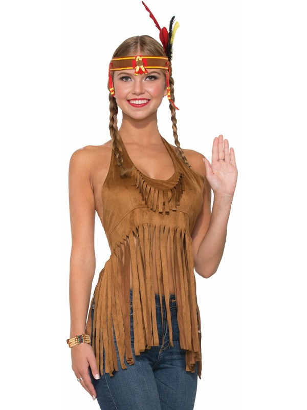 NATIVE AMERICAN INDIAN FRINGED HALTER NECK TOP