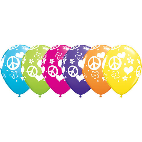 BALLOONS LATEX - PEACE SIGN & HEART PRINT PACK 6