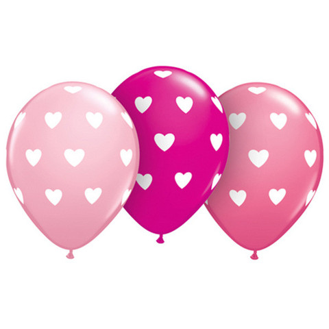 BALLOONS LATEX - PINK WITH POLKA DOT HEARTS PACK 6