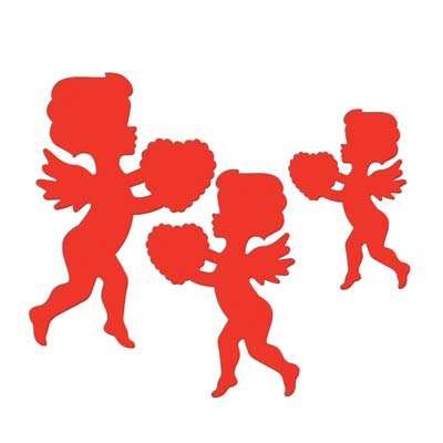 VALENTINES DAY CUPID CUT OUTS - PACK OF 6