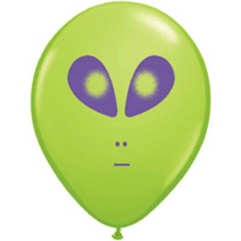 "BALLOONS LATEX - 5"" GREEN SPACE ALIEN PACK OF 6"