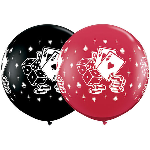 BALLOONS LATEX - CASINO CARDS & DICE 3' ROUND PACK OF 2