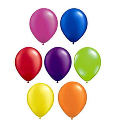 Image of Balloons Latex  7 Brights Pearlised/metallic Pro Pack Of 50