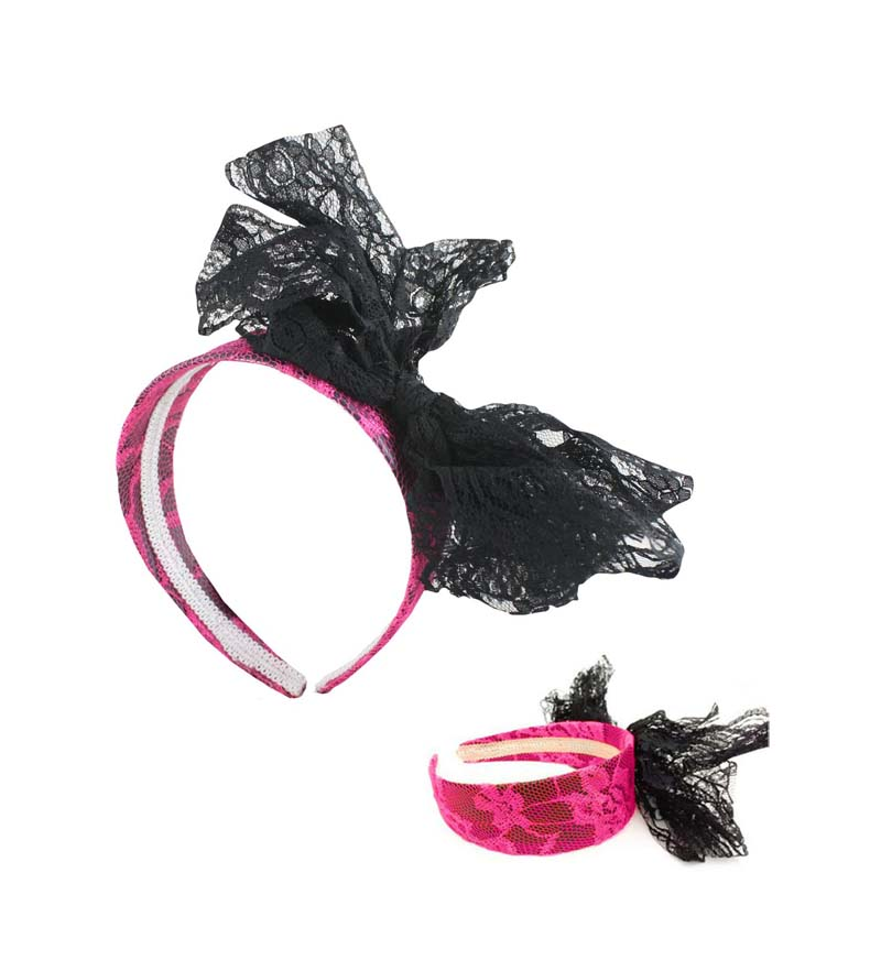 1980'S STYLE HOT NEON PINK & BLACK LACE HEADBAND