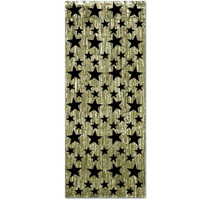 METALLIC FOIL CURTAIN - GOLD WITH BLACK STARS
