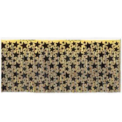 METALLIC FOIL TABLE SKIRTING - GOLD WITH BLACK STARS