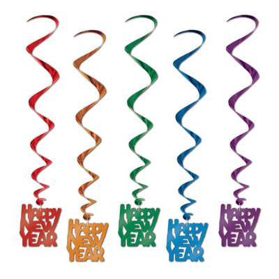HAPPY NEW YEARS WHIRLS - PACK OF 5