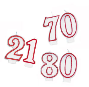 NUMERICAL CANDLES - WHITE WITH RED PIPING 18 - 80 CHOOSE HERE