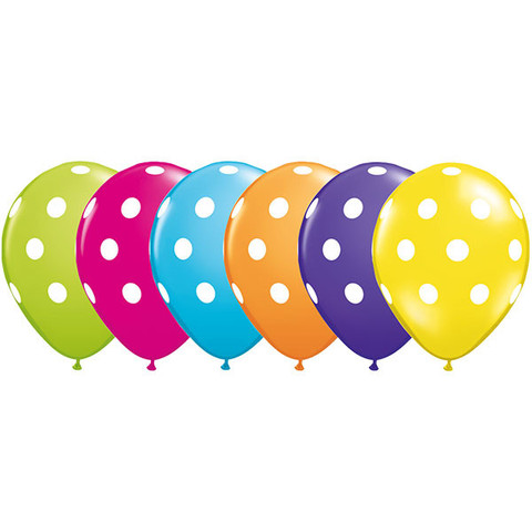BALLOONS LATEX - POLKA DOT TROPICAL ASSORTMENT PACK OF 25
