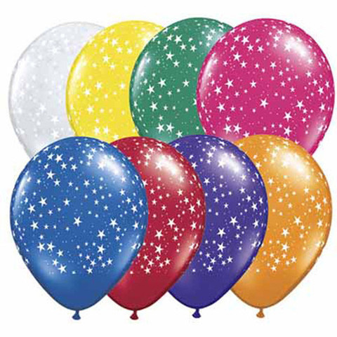 BALLOONS LATEX - STARS AROUND PRINT PACK OF 6