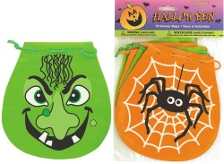 HALLOWEEN TRICK OR TREAT GOODY DRAW STRING BAGS - PACK OF 10