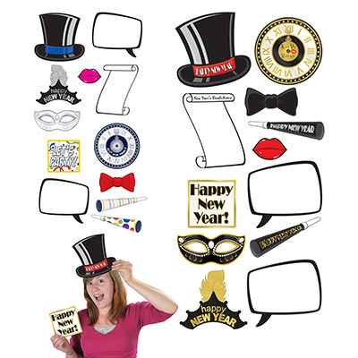 SELFIE PHOTO BOOTH PROPS - NEW YEARS PACK OF 12