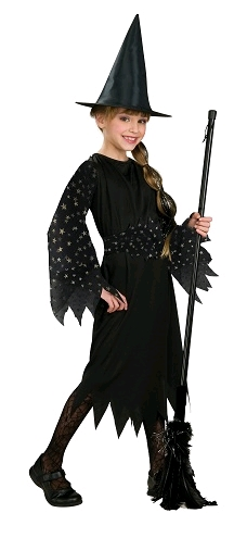 CHILDS WITCH OUTFIT WITH FLOCKED SILVER STAR SLEEVES