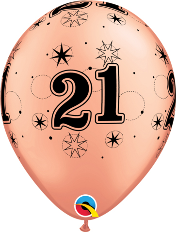 BALLOONS LATEX - 21ST BIRTHDAY ROSE W GOLD BLACK SPARKLE - PK 6