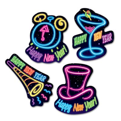 HAPPY NEW YEAR NEON CUT OUTS - PACK OF 4