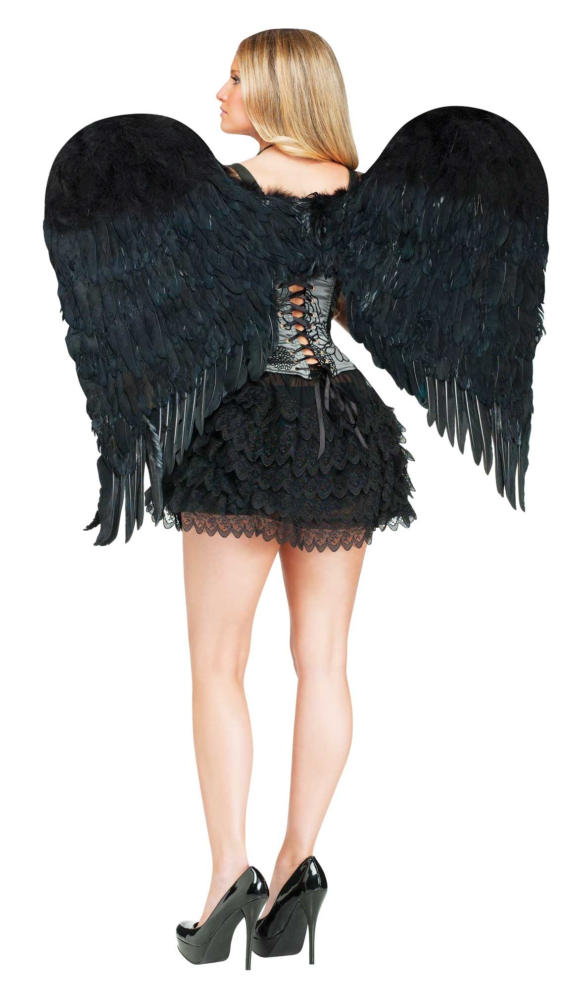 LARGE FEATHERED BLACK ANGEL WINGS