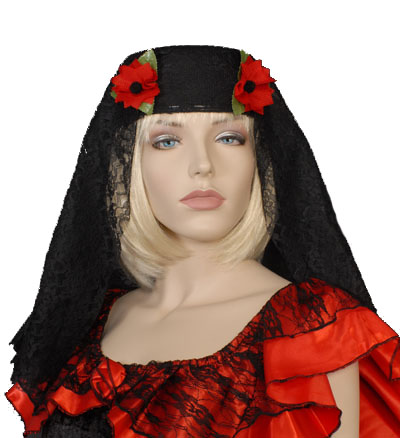 SPANISH SENORITA BLACK LACE PILL BOX HAT & VEIL