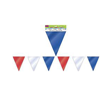 PATRIOTIC RED, WHITE & BLUE PENNANT BANNER - 10M