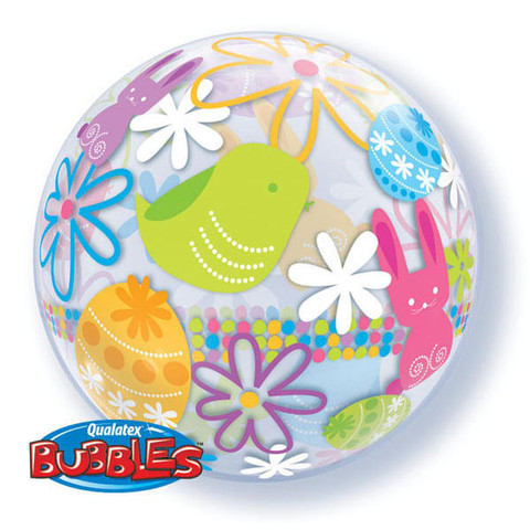 bubble balloon - Easter bunnies and flowers