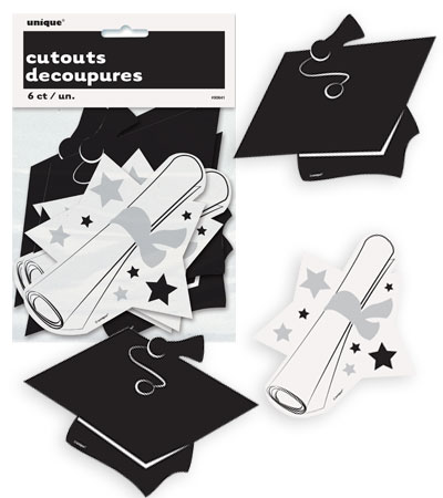 GRADUATION MINI CUT OUTS - PACK OF 6