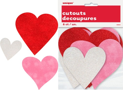 HEARTS CUT OUTS MINI GLITTER - PACK OF 6