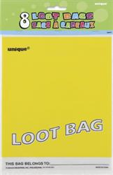 PARTY LOOT BAGS - YELLOW PK 8