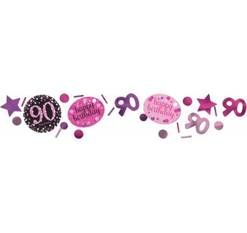90TH BIRTHDAY SCATTERS SPARKLING - PINK, SILVER & BLACK