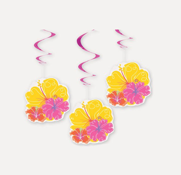 HAWAIIAN HIBISCUS HANGING SWIRLS - PACK OF 3
