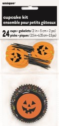 PUMPKIN FACES CUPCAKE & PICK SET - PACK OF 24